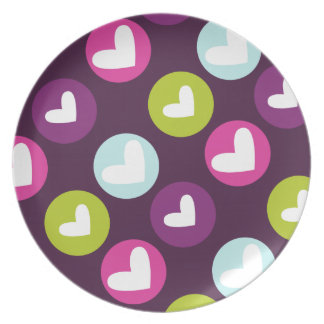 Polka Hearts in Berry Dark Plate