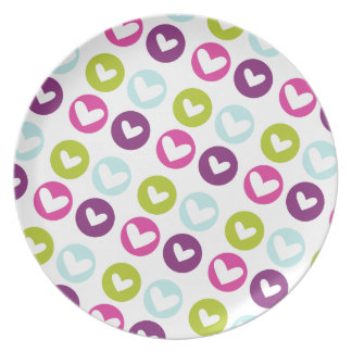 Polka Hearts in Berry Light Plate