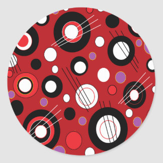 Polka Lipstick Red Classic Round Sticker