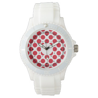 Polka red white minute hours watch
