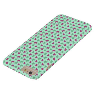 Polka stars, pale sea green, rose-cerise barely there iPhone 6 plus case