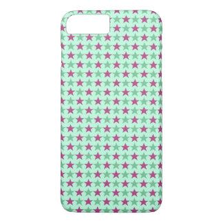 Polka stars, pale sea green, rose-cerise iPhone 8 plus/7 plus case