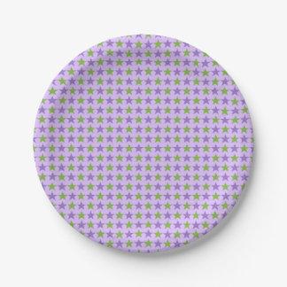 Polka stars, pale violet, spring bud green paper plate
