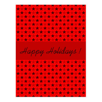 Polka stars red, customizable text postcard