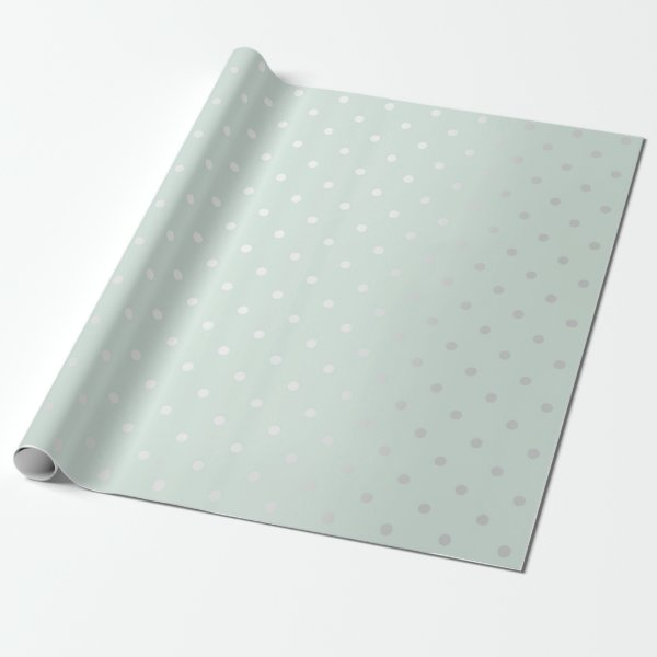 Polka Tiny Small Dots Gray Blue Tiffany Aqua Wrapping Paper