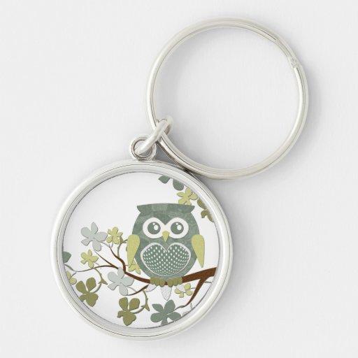 Polka Tree Owl Keychain