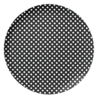 Polka white on black melamine plate