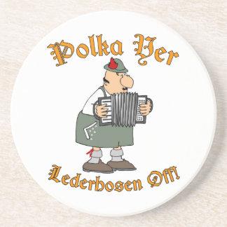 Polka Yer Lederhosen Off! Sandstone Coaster