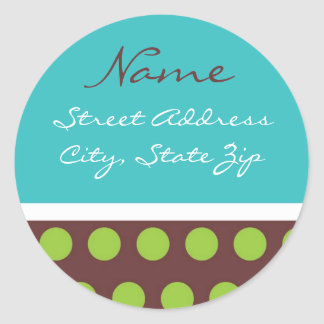PolkADot Address Lables Classic Round Sticker