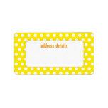 Polkadot amarillo etiquetas de dirección