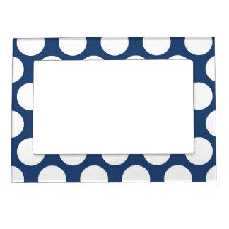 Polkadot azul marino foto de imanes