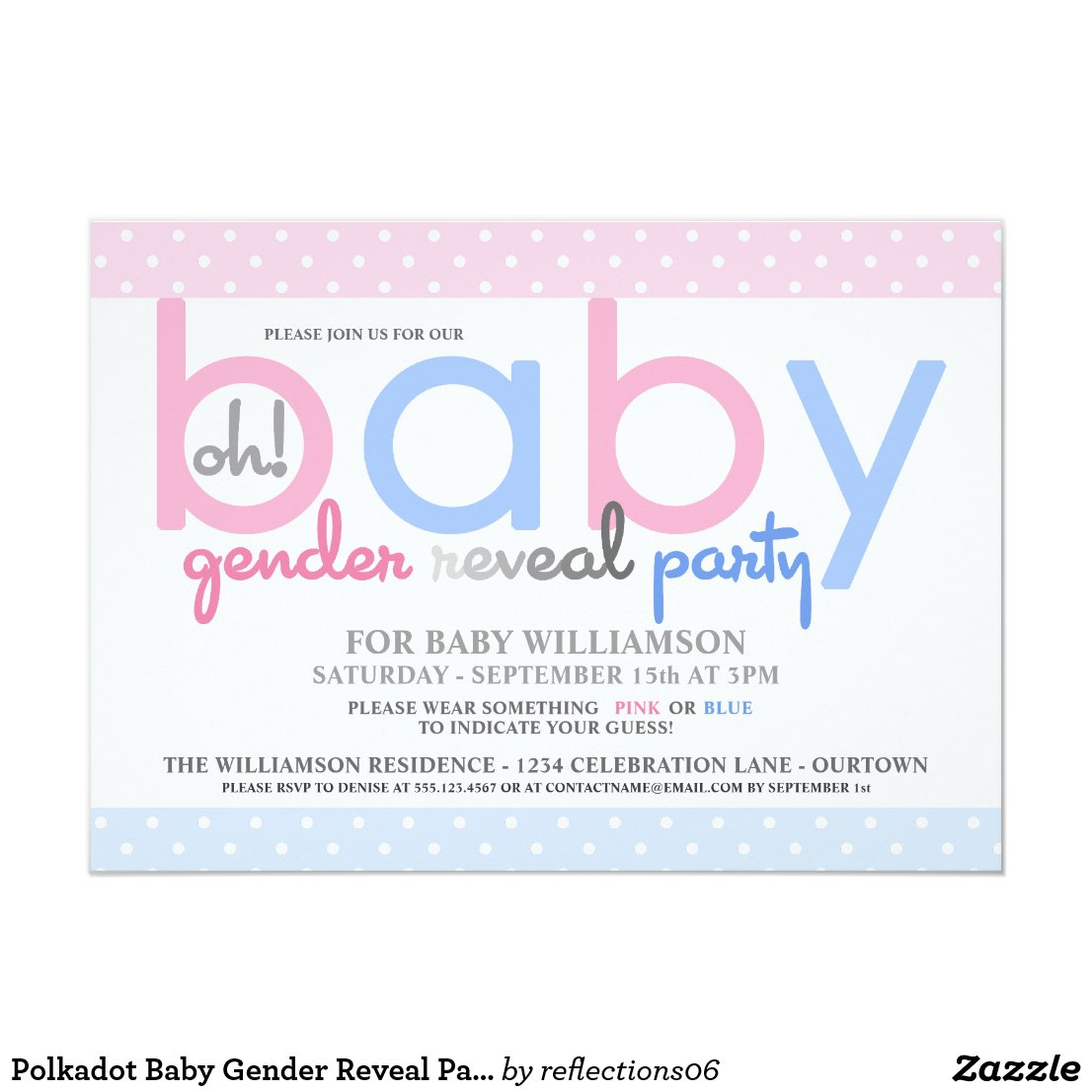 Polkadot Baby Gender Reveal Party Invitation