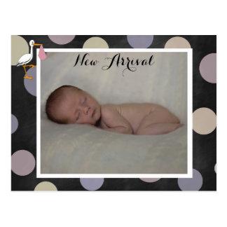 Polkadot Baby Girl Birth Announcement Postcard