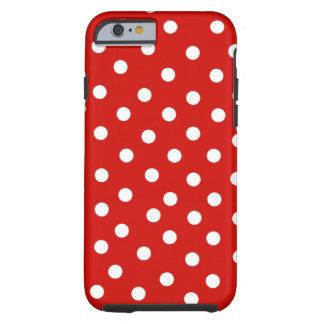 polkadot blanco rojo funda de iPhone 6 tough