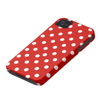 polkadot blanco rojo iPhone 4 Case-Mate protectores
