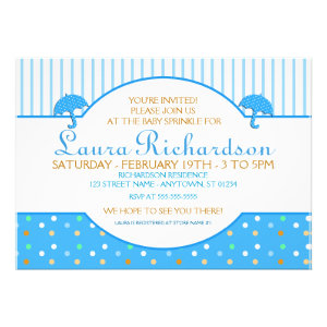 Polkadot Blue Baby Sprinkle Invitations