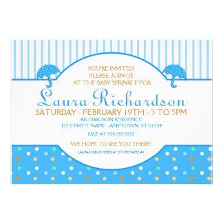 Polkadot Blue Baby Sprinkle Invitations