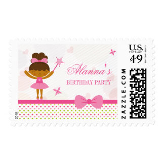 Polkadot bow ballerina girls birthday party stamps