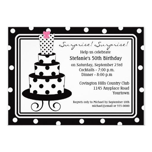 Polkadot Cake Surprise Birthday Invitation