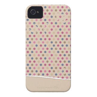 Polkadot color de rosa beige iPhone 4 coberturas