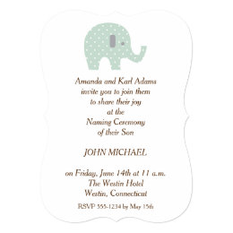Baby naming ceremony invitations announcements zazzle polkadot elephant baby boy naming ceremony invite spiritdancerdesigns Image collections