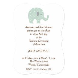 Baby naming ceremony invitations announcements zazzle polkadot elephant baby boy naming ceremony invite stopboris Image collections