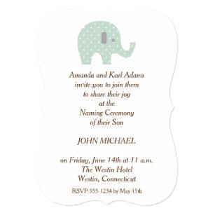 Baby naming ceremony invitations announcements zazzle polkadot elephant baby boy naming ceremony invite stopboris Images