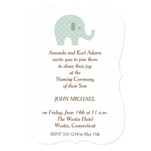 Amazing PolkaDot Elephant Baby Boy Naming Ceremony Invite