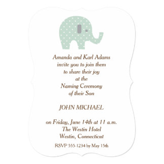 PolkaDot Elephant Baby Boy Naming Ceremony Invite  Ceremony Invitation Template