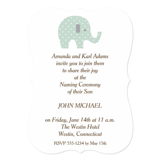 Polkadot Elephant Baby Boy Naming Ceremony Invite  ZazzleCom