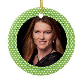 Polkadot Frame green zazzle_ornament