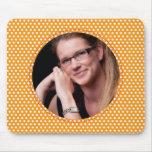 Polkadot Frame in orange Mousepad