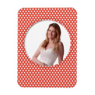 Polkadot Frame in red Rectangular Photo Magnet