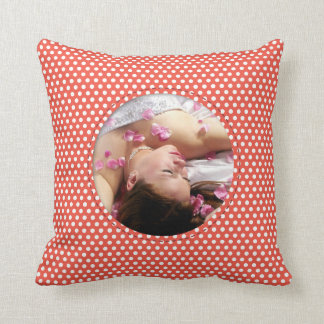 Polkadot Frame in red Throw Pillow