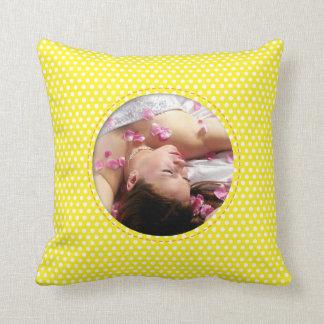Polkadot Frame in yellow Throw Pillow