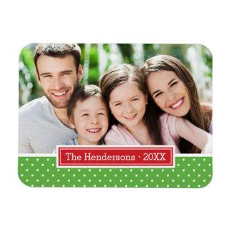 Polkadot Holiday Monogram Photo Magnet