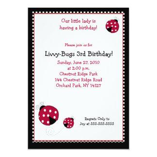 Polkadot Ladybug 5x7 Birthday Invitation