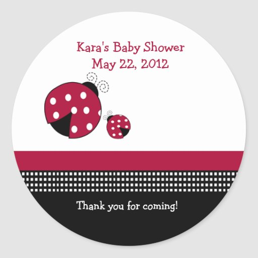 Polkadot Ladybug Baby Shower Favor Sticker