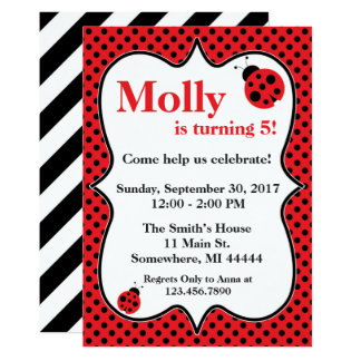 Polkadot Ladybug Birthday Party Invitation