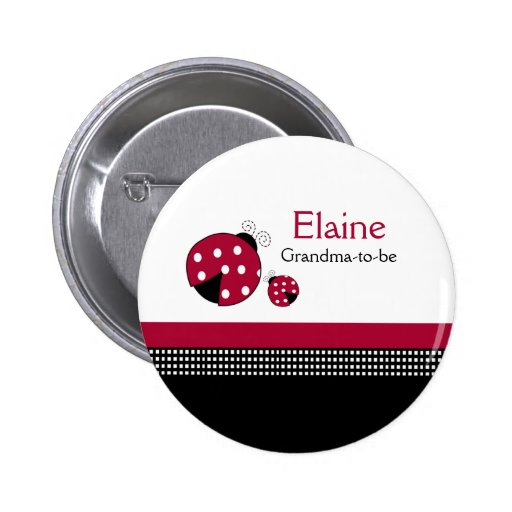 Polkadot Ladybug NAME TAG Personalized Button