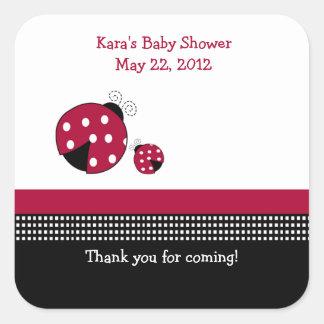 Polkadot Ladybug SQUARE Favor Sticker