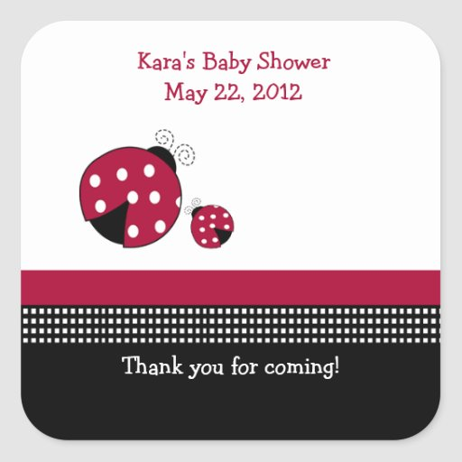 Polkadot Ladybug SQUARE Favor Sticker