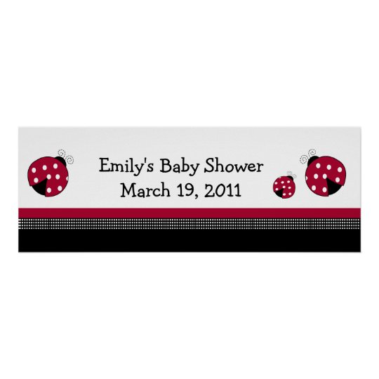 POLKADOT LADYBUGS Baby Shower /  Birthday Banner Poster