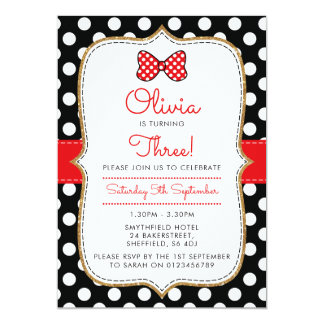 Polkadot Minnie themed birthday party invitation
