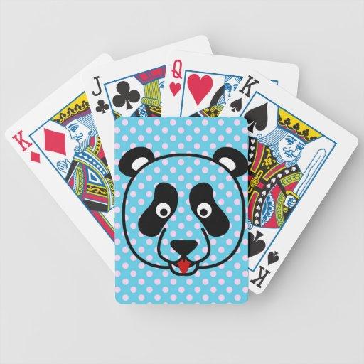 Polkadot Panda Face Bicycle Playing Cards