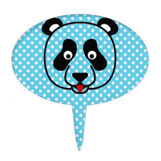 Polkadot Panda Face Cake Toppers