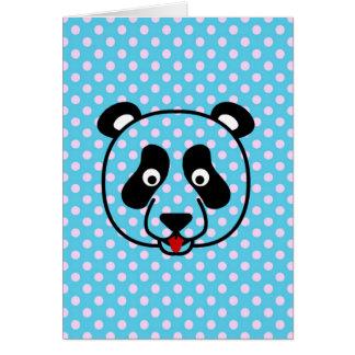 Polkadot Panda Face Greeting Card