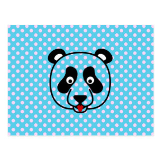 Polkadot Panda Face Postcard