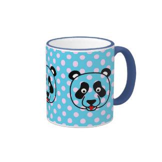 Polkadot Panda Face Ringer Coffee Mug
