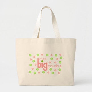 Polkadot pink and green Big Cousin T-shirt Large Tote Bag